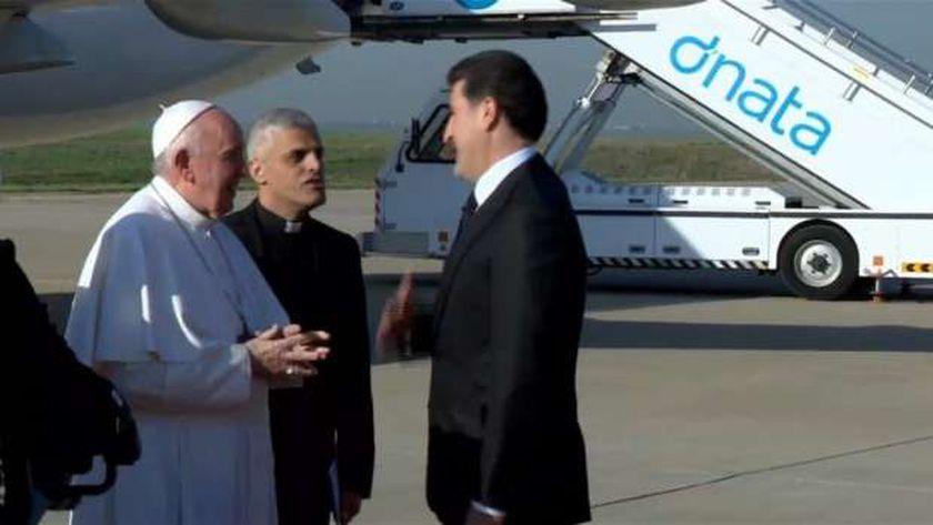 وصول بابا الفاتيكان إلى إقليم كردستان العراق