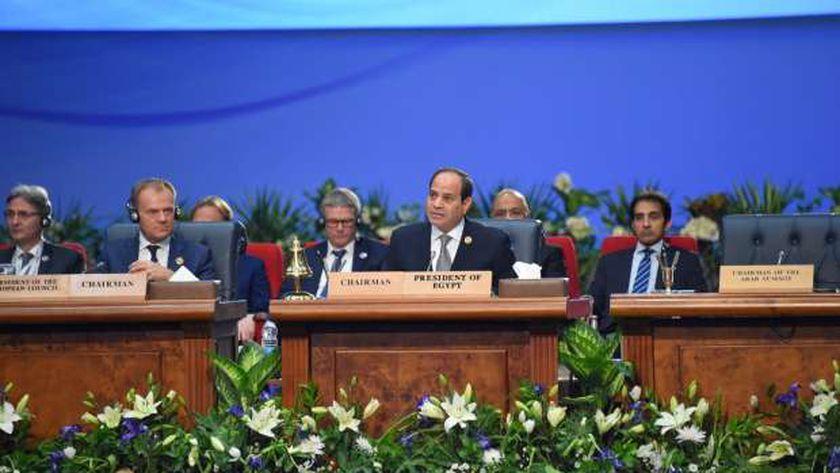 السيسي خلال القمة العربية الأوروبية