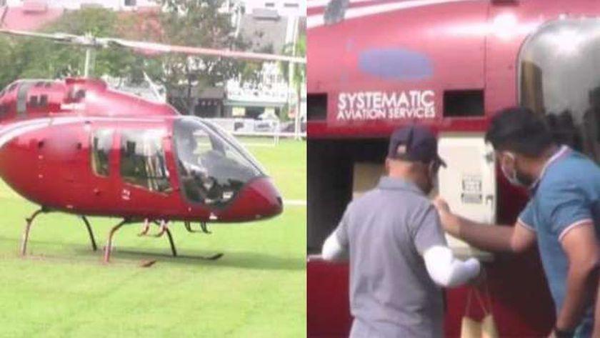 الطائرة الهليكوبتر تقوم بتوصيل وجبات الأرز في ماليزيا