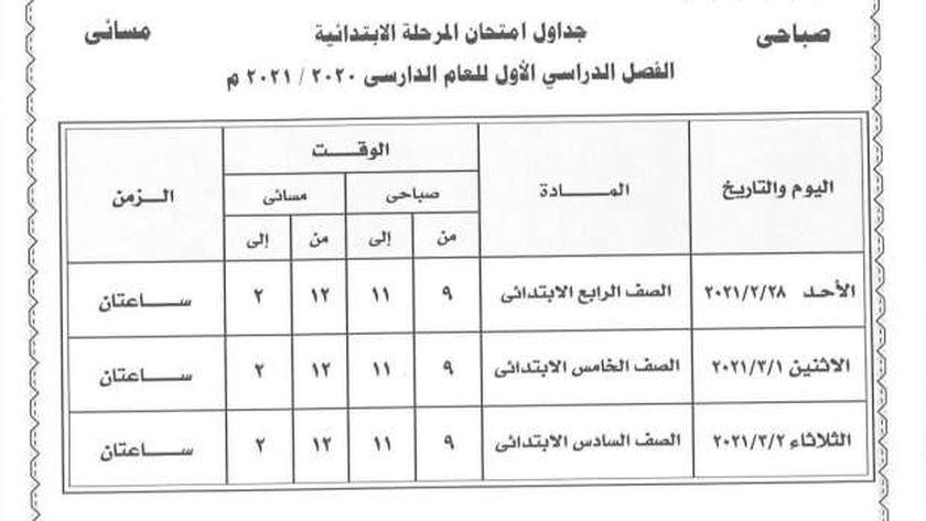 ننشر جدول امتحانات الفصل الدراسى الأول للمرحلة الابتدائية بالغربية