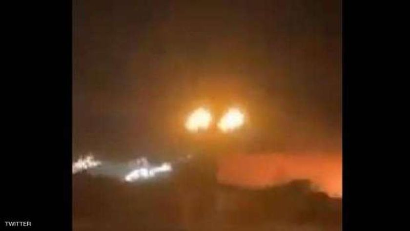 لحظة سقوط صاروخ على القاعدة الأمريكية بمطار أربيل بالعراق