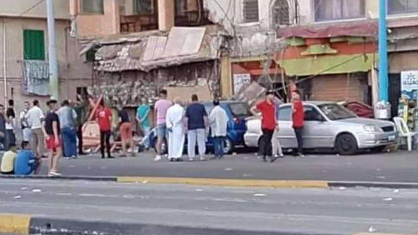 انهيار سقف مطعم شهير بالإسكندرية