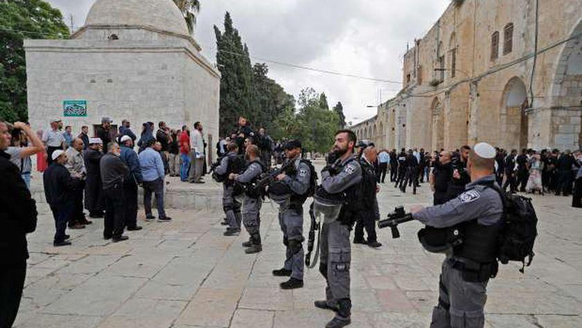 جنود الاحتلال ينتشرون فى كل مكان خوفاً من ردود الفعل الفلسطينية بعد نقل السفارة «أ. ف. ب»