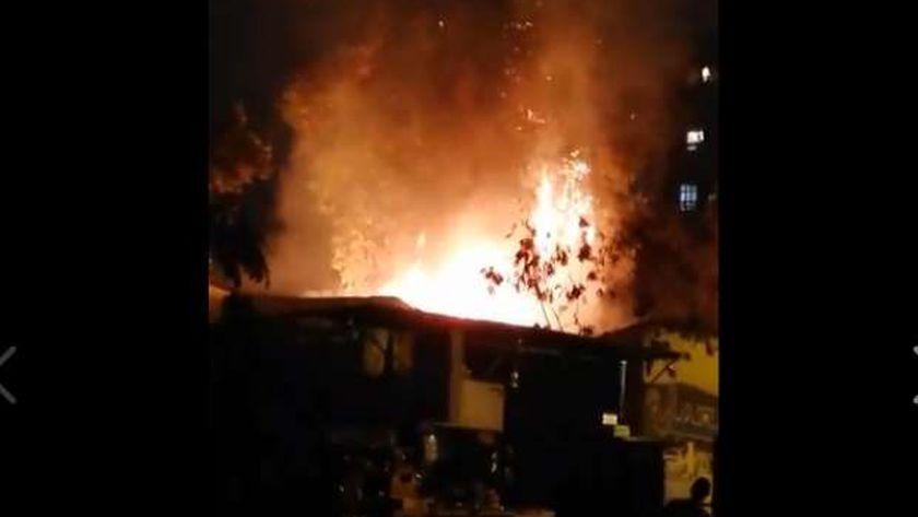 حريق مقر الإسعاف بالمعادي