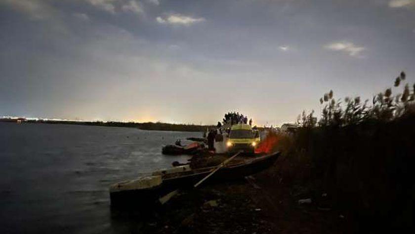 موقع حادث غرق مركب في الإسكندرية الآن