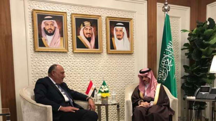 وزير الخارجية السعودي فيصل بن فرحان مع وزير الخارجية سامح شكري
