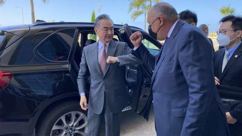 وزير الخارجية سامح شكري يستقبل نظيره الصيني وانج يي