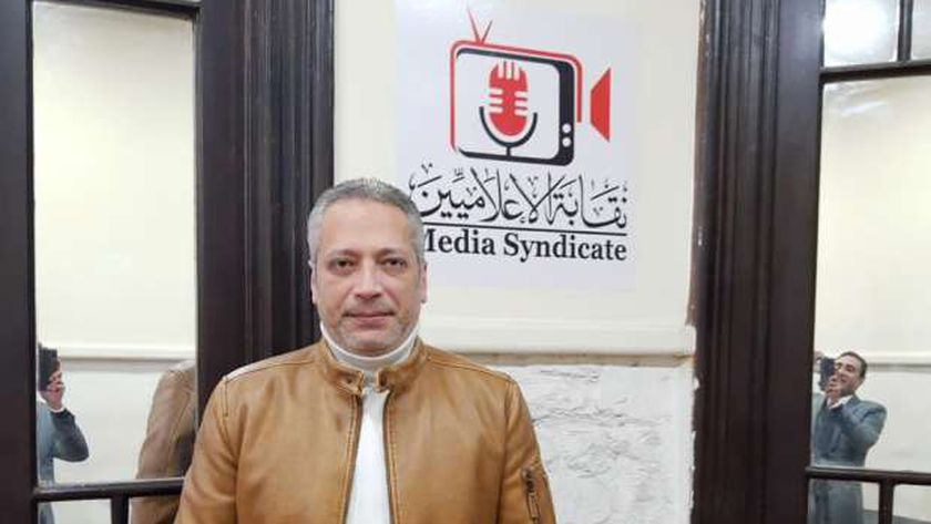 تامر أمين اثناء مثوله اليوم بنقابة الإعلاميين للتحقيق