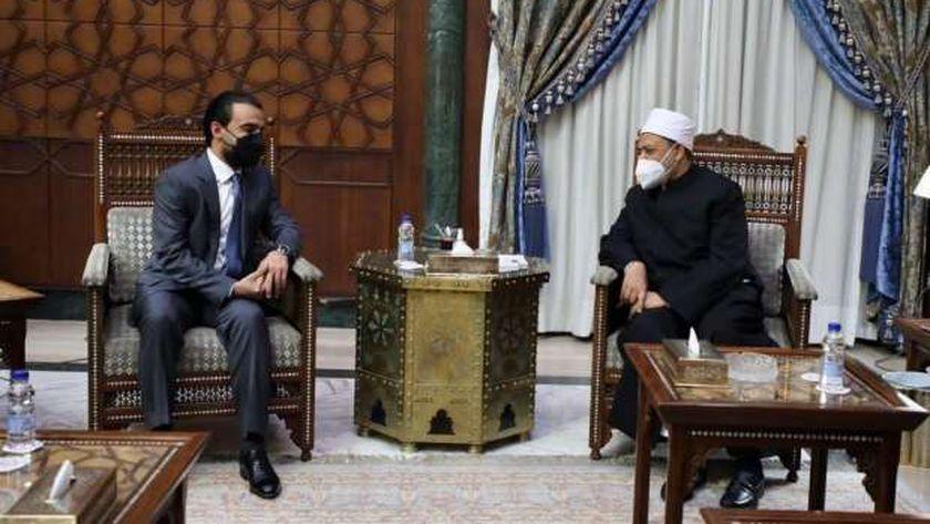 جانب من لقاء شيخ الأزهر ورئيس البرلمان العراقي