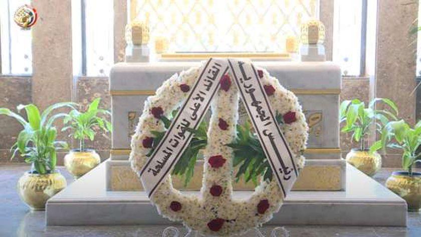 إكليل زهور من الرئيس السيسي لضريح عبدالناصر