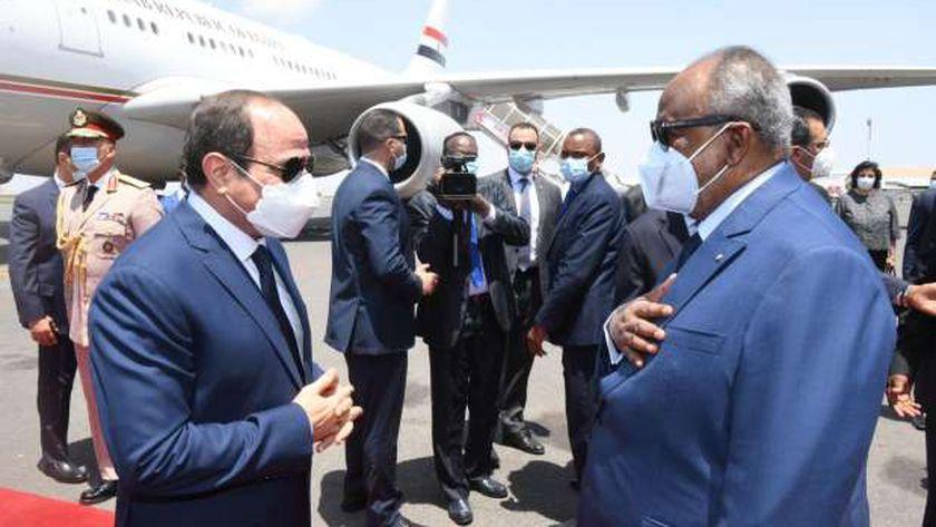 الرئيس عبدالفتاح السيسي خلال زيارته لرئيس جيبوتي