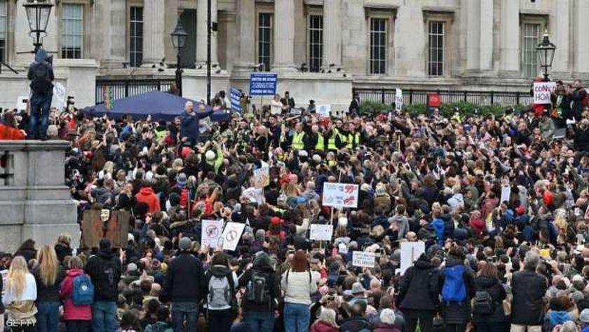 مظاهرات سابقة ف لندن ضد قيود الإغلاق