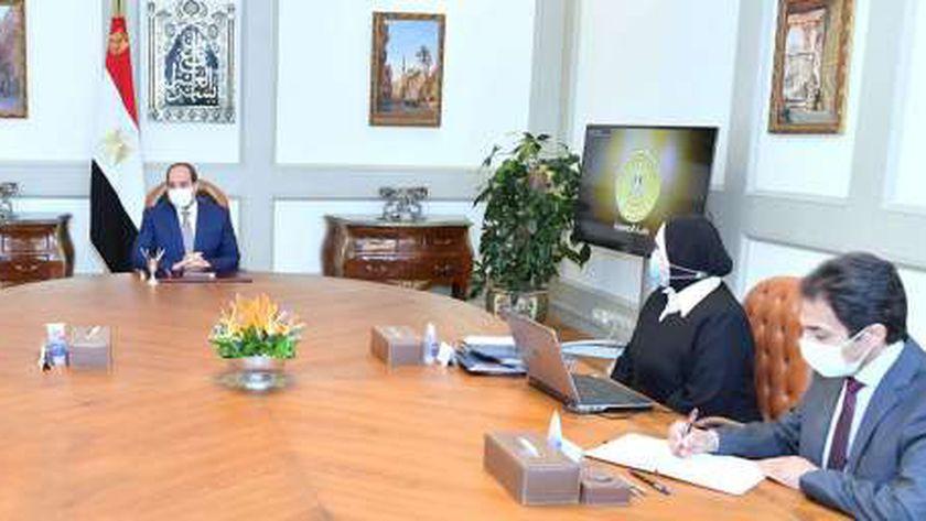 الرئيس عبد الفتاح السيسي أثناء الاجتماع