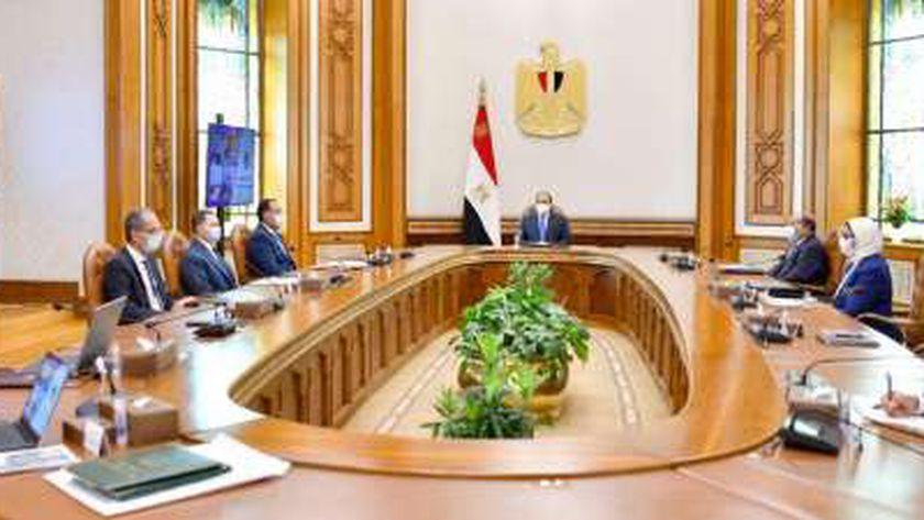 الرئيس عبد الفتاح السيسي خلال اجتماعه اليوم