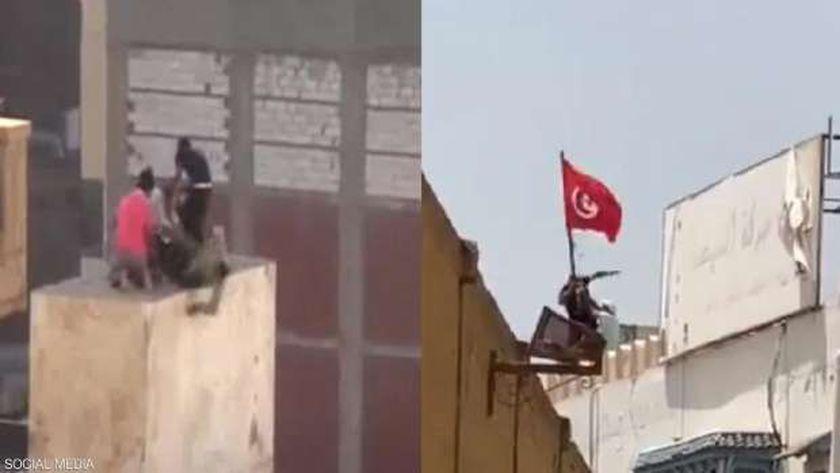 إخواني تونسي يلقي مواطن من فوق أحد مقرات النهضة
