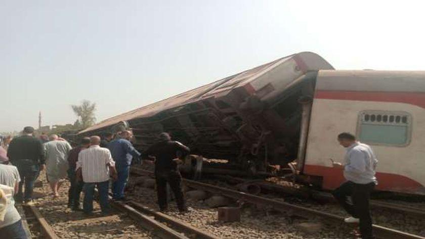 جانب من حادث قطار طوخ