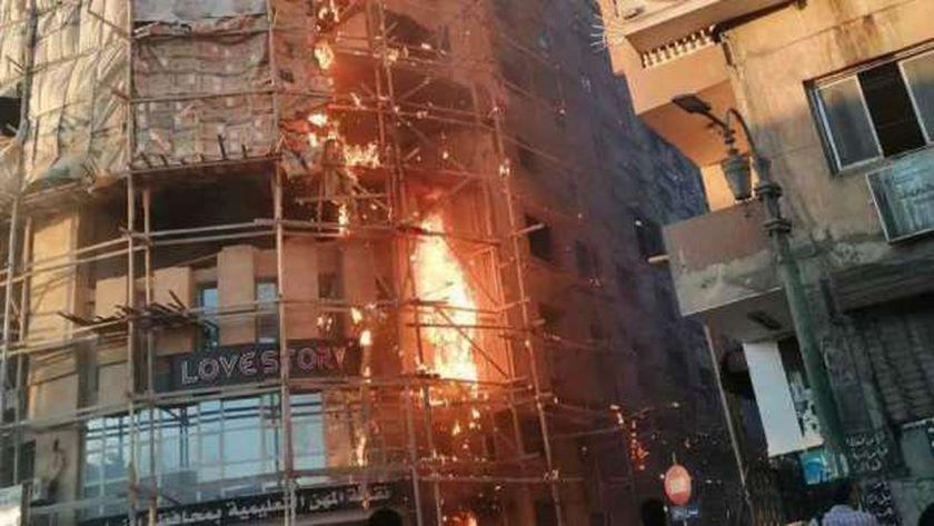 الحريق الذي اندلع بنقابة معلمين المنيا يوليو الماضي