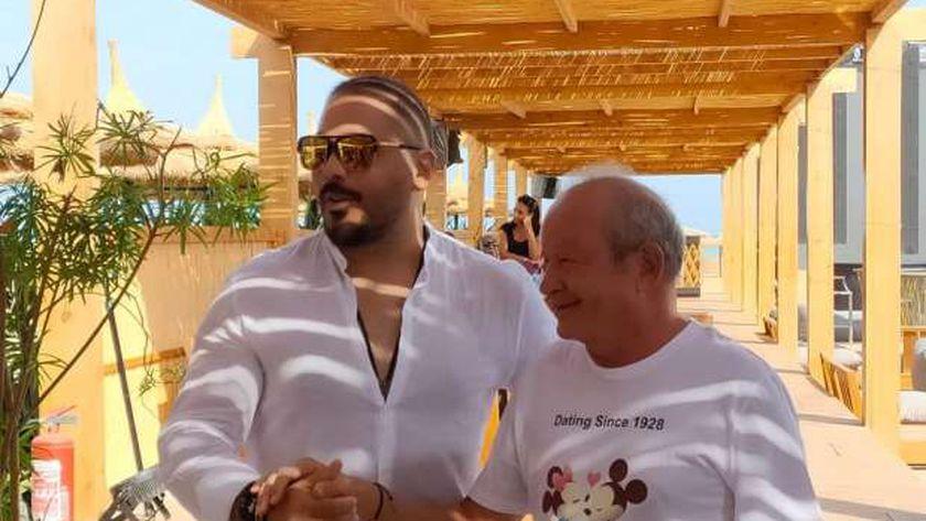 نجيب ساويرس ورامي عياش في كواليس تصوير دقي يا مزيكا