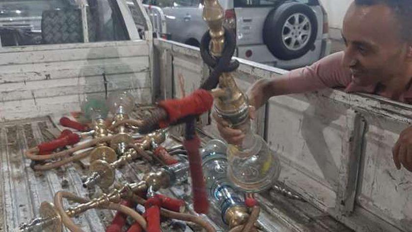 ضبط 40 شيشة وتحرير 3 محاضر بحي شرق سوهاج.
