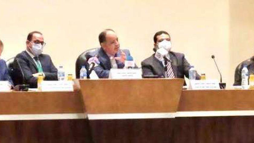 وزير المالية خلال لقائه مع اتحاد المستثمرين