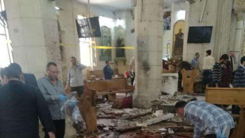 آثار الانفجار فى كنيسة «مارجرجس» بطنطا