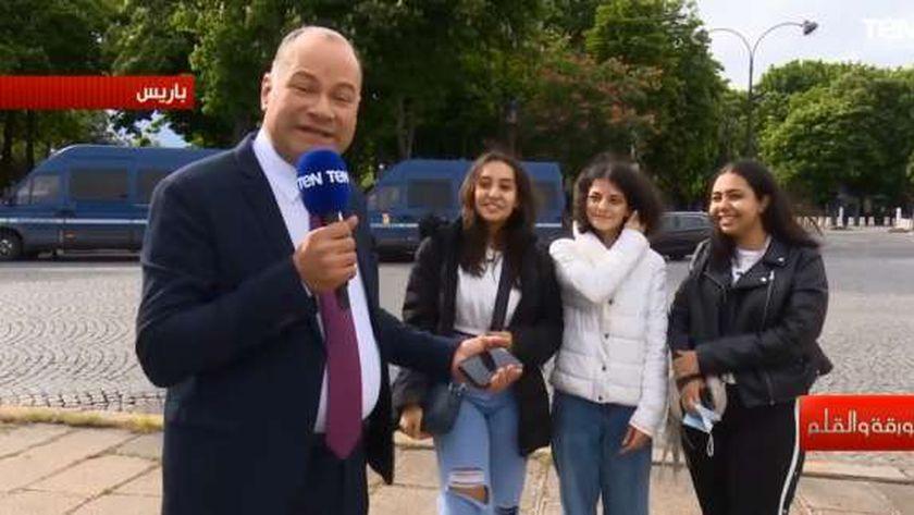 لقاء الإعلامي نشأت الديهي مع طالبات مصريات في فرنسا