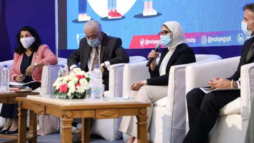 الدكتورة هالة زايد خلال مؤتمر لها للاعلان عن خطة تأمين الطلاب فى المدارس
