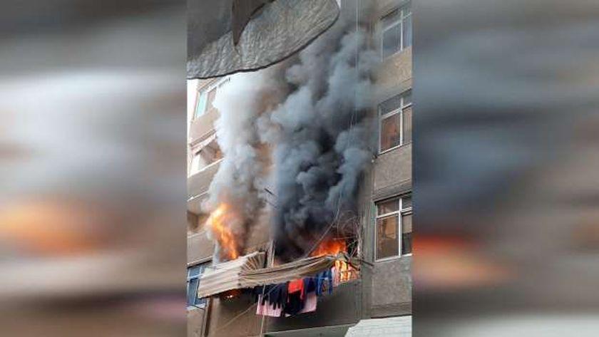 حريق منزل في منطقة المرج