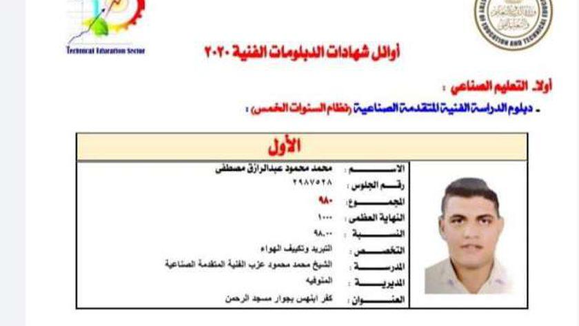 محمد محمود اول الدبلون الصناعي