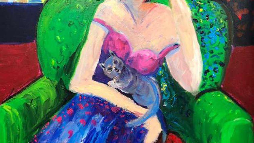 """لوحة من لوحات الفنانة هبة النقادي في معرض """"صرخات لونية"""""""