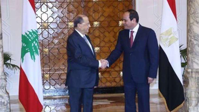الرئيس عبدالفتاح السيسي ونظيره اللبناني ميشال عون