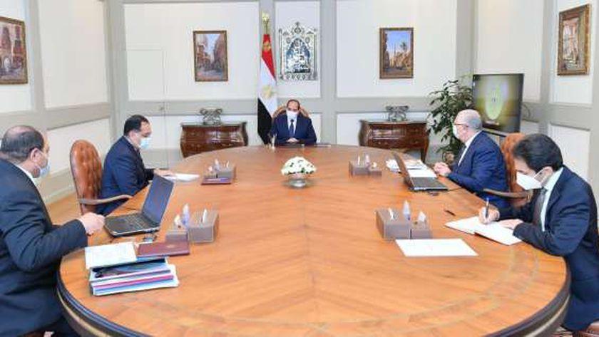 الرئيس السيسي خلال اجتماعه مع رئيس الوزراء