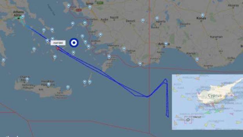 حركة الطائرة اليونانية فوق المتوسط