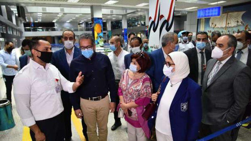 وزراء الصحة والطيران والسياحة يتفقدون الحجر الصحي بمطار الغردقة الدولي