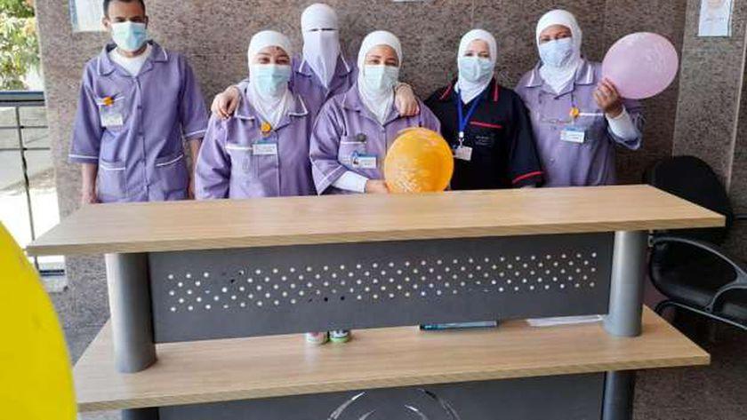 الاطقم الطبية في أحد الوحدات الصحية في الاسماعيلية