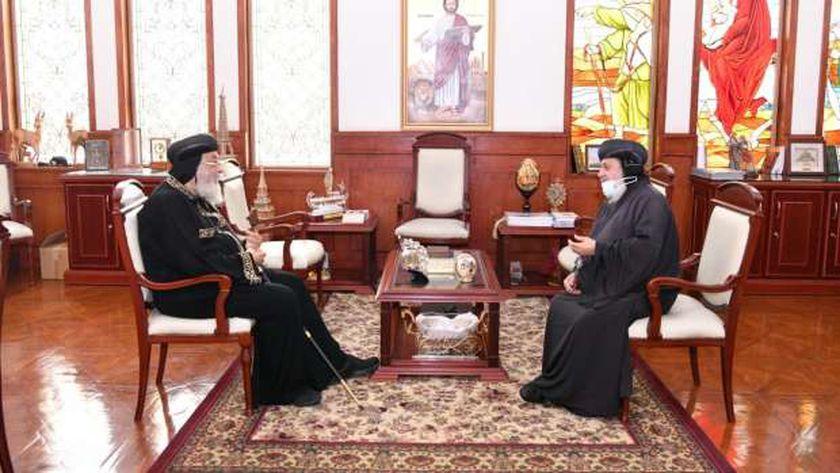 البابا مع مطران أبوتيج