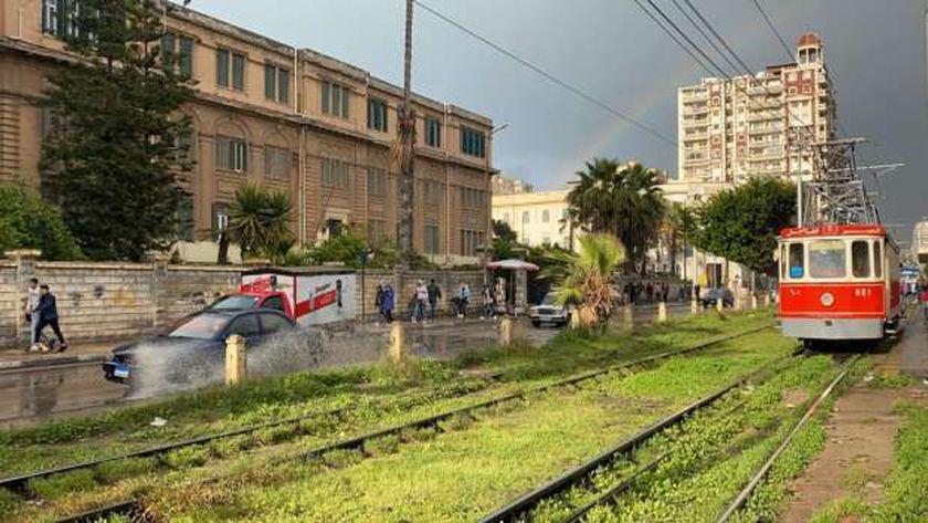 ظهور قوس قزح في سماء الإسكندرية