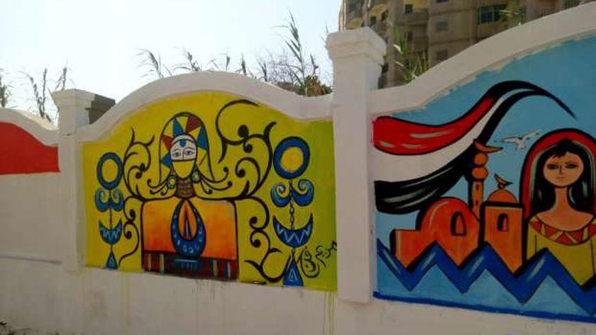 """""""تعليم الغربية"""" تشارك في العيد القومي للمحافظة بالرسم على جدران الطريق السريع"""