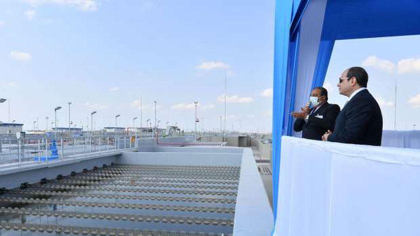 الرئيس السيسي في افتتاح منظومة معالجة مصرف البحر