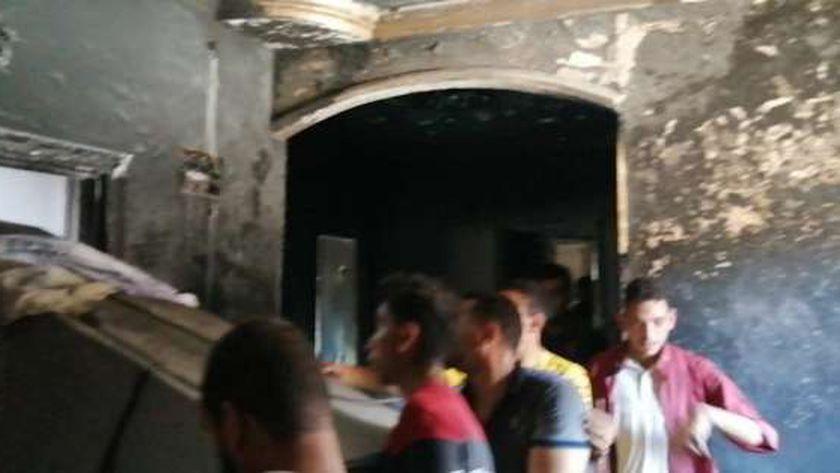 حريق قرية ميت نابت