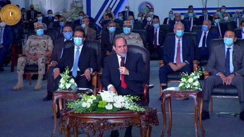 الرئيس عبد الفتاح السيسي أثناء إلقاء كلمته اليوم