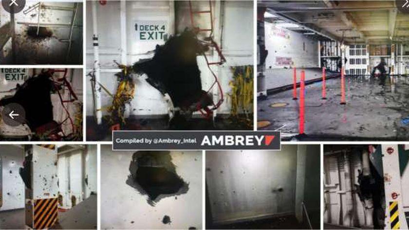 أثار الانفجار في السفينة الإسرائيلية
