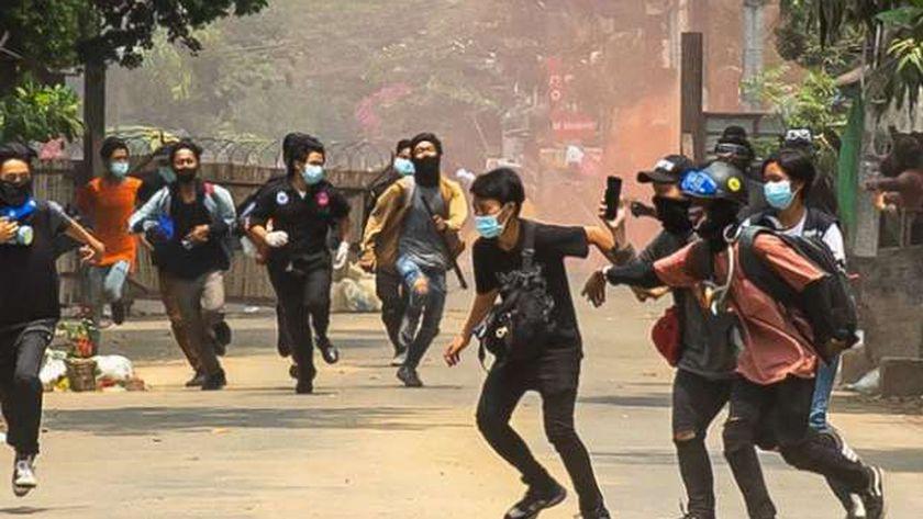 مظاهرات في ماينمار ضد الانقلاب العسكري