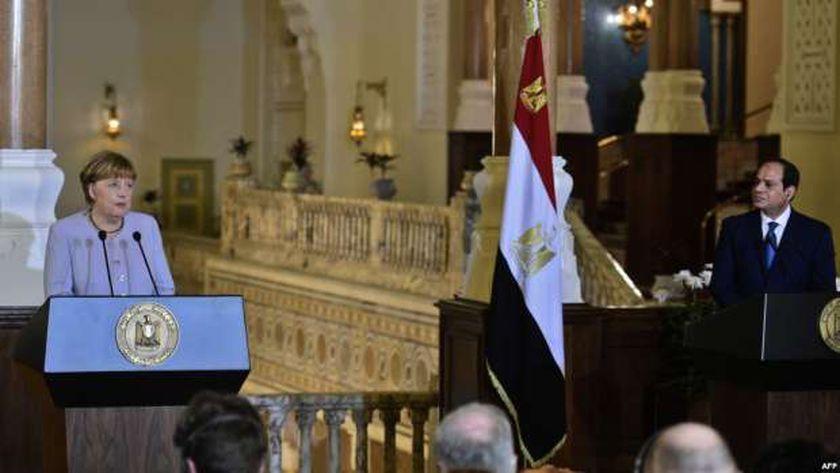 الرئيس عبد الفتاح السيسي والمستشارة الألمانية أنجيلا ميركل