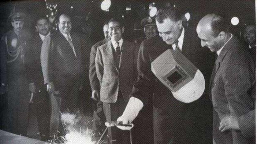 عبد الناصر عند افتتاح الحديد والصلب