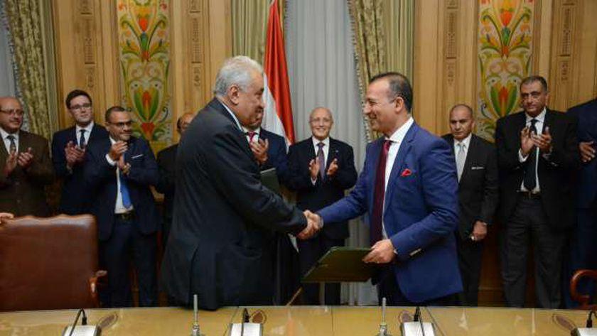 توقيع عقد تقديم خدمات استشارية هندسية بين نقابة المحامين وشركة الإنتاج الحربي للمشروعات والاستشارات الهندسية والتوريدات العامة