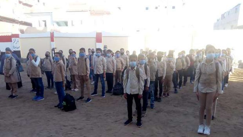 تلاميذ كفر الشيخ خلال طابور الصباح