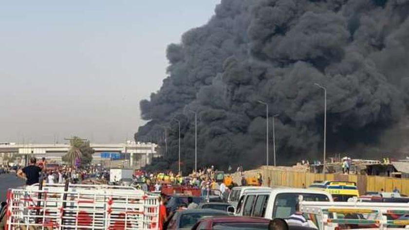 انفجار خط مازوت طريق الإسماعيلية