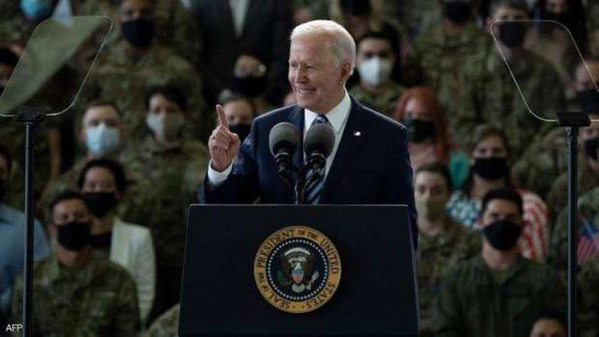 الرئيس الأمريكي جو بايدن في خطابه الأول أمام عسكريين أمريكيين خارج الولايات المتحدة