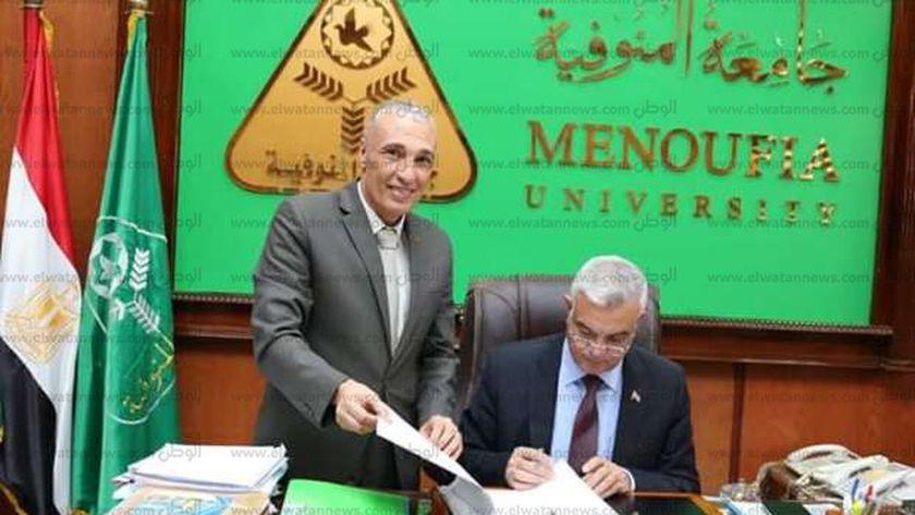 رئيس جامعة المنوفية وعميد كلية الآداب